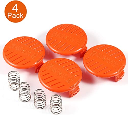 X Home Weed Eater AF-100 Spool Cap Covers Compatible with Black Decker GH900 GH600 LST522 LCC140 String Trimmer Replacement RC-100-P Edger Parts 385022-03 Bump Cover 4 Caps + 4 Spring