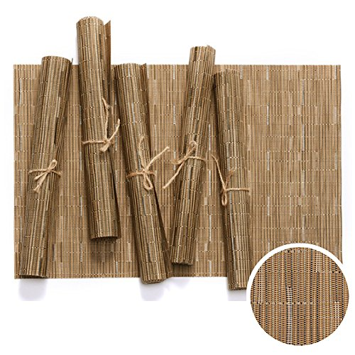 WOMHOPE Set of 6 pcs - Bamboo Striped Jacquard PVC Woven Vinyl Place Mats Table Placemats Heat-resistant Table Mats Outdoor/Indoor (Brown (Set of 6 pcs)) ()