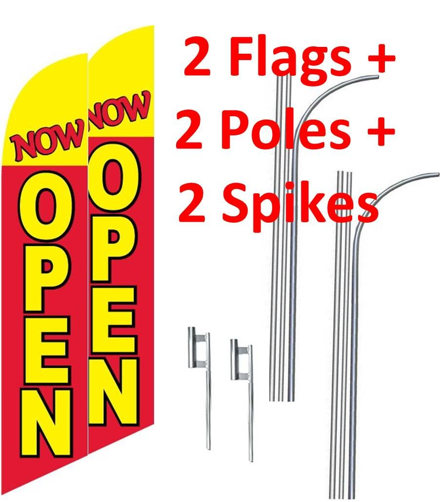 2 (two) NOW OPEN red/yel 15' SWOOPER #3 FEATHER FLAGS KIT with poles+spikes
