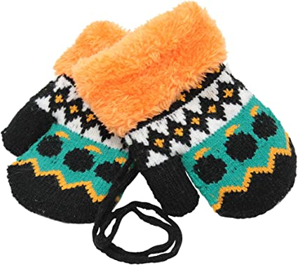Toddler Kids Warm Knit Mittens Boys Girls Winter Gloves with Strings and Buttons
