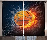 Cheap Sports Decor Collection Basketball Ball on Fire and Water Flame Splashing Thunder Lightning Image Living Room Bedroom Curtain 2 Panels Set Navy Blue Orange White
