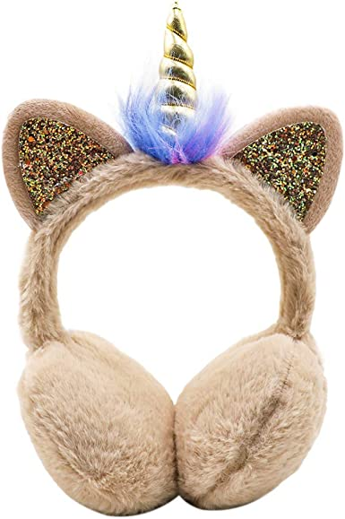 Zebra Animal Rainbow Color Winter Earmuffs Ear Warmers Faux Fur Foldable Plush Outdoor Gift