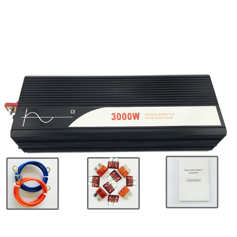 Xijia 3000W (Peak 6000W) Pure Sine Wave power Inverter DC 12V 24V 48V to AC 120V 60HZ Solar converter For Home Use car (DC 12V to AC 120V)