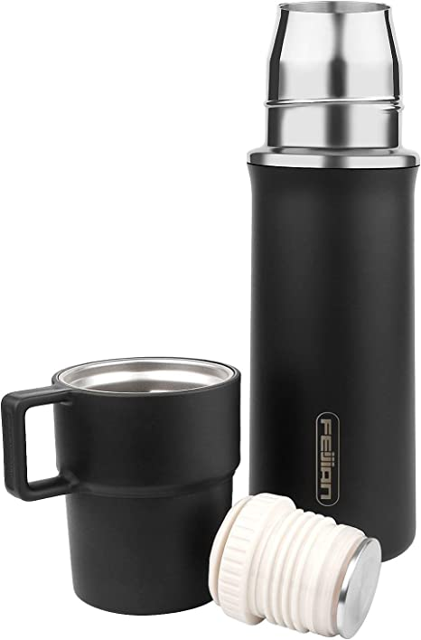Thermos Mug COFFEE Cup Stainless Steel VACUUM Thermal Insulate Flask Handle FREE