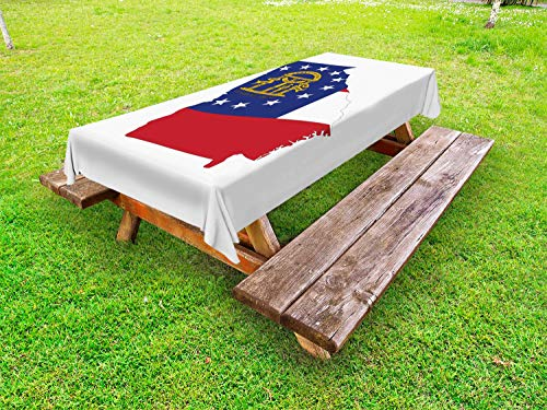 Lunarable Georgia Outdoor Tablecloth, Peach State Flag on Map Wisdom Justice Moderation, Decorative Washable Picnic Table Cloth, 58 X 84 Inches, Dark Coral Cobalt Blue White Earth Yellow