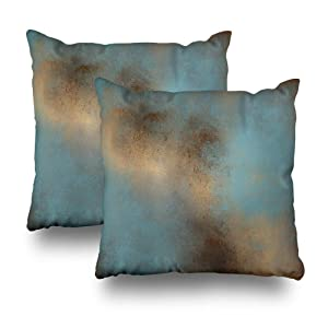 WAYATO Set of 2 Pillow Case Cotton Polyester Blend Throw Pillow Covers Serene Teal Blue Gold Brown Bed Home Decor Cushion Cover 18X18 Inch