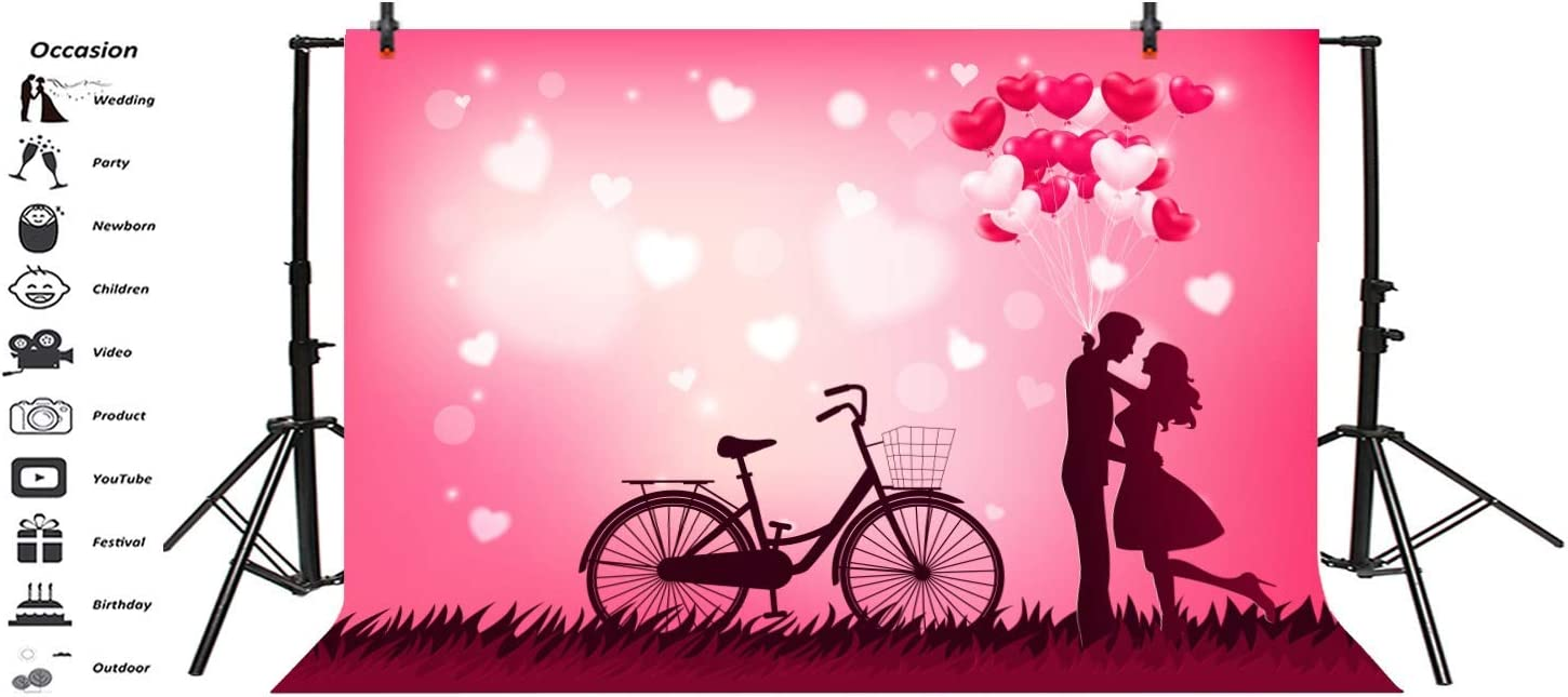 10x8ft Valentines Day Backgrounds for Photography Fantasy Fairy Tale Romantic Bicycle Backdrop Engagement Wedding Party Decoration Lovers Couple Photo Booth Shoot Vinyl Studio Props