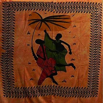 Tagesdecke Afrikanische Musiker orange schwarz 240 x 210 cm ...