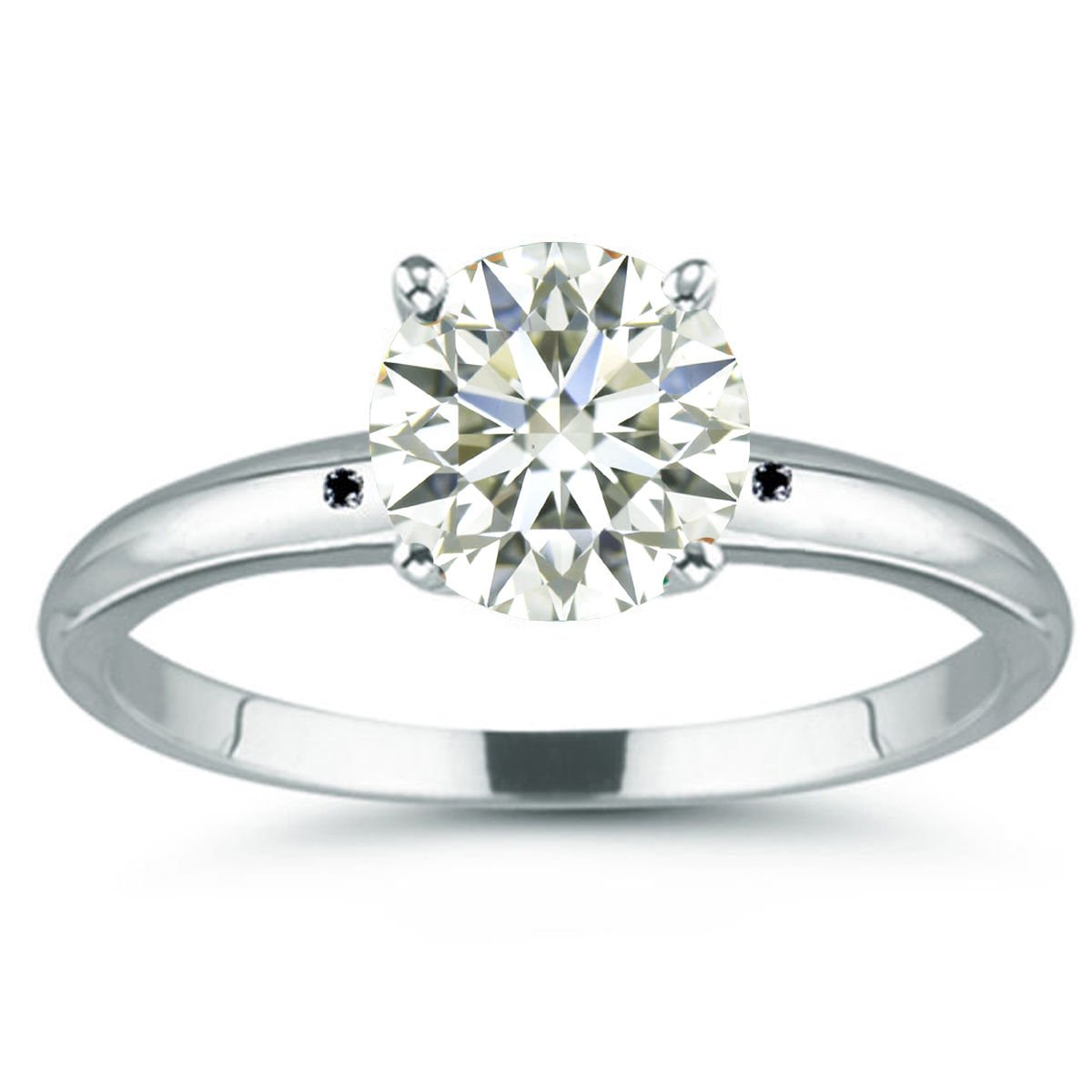 RINGJEWEL 2.90 ct SI3 Round Moissanite Solitaire Silver Plated Engagement Ring Off White Color Size 7