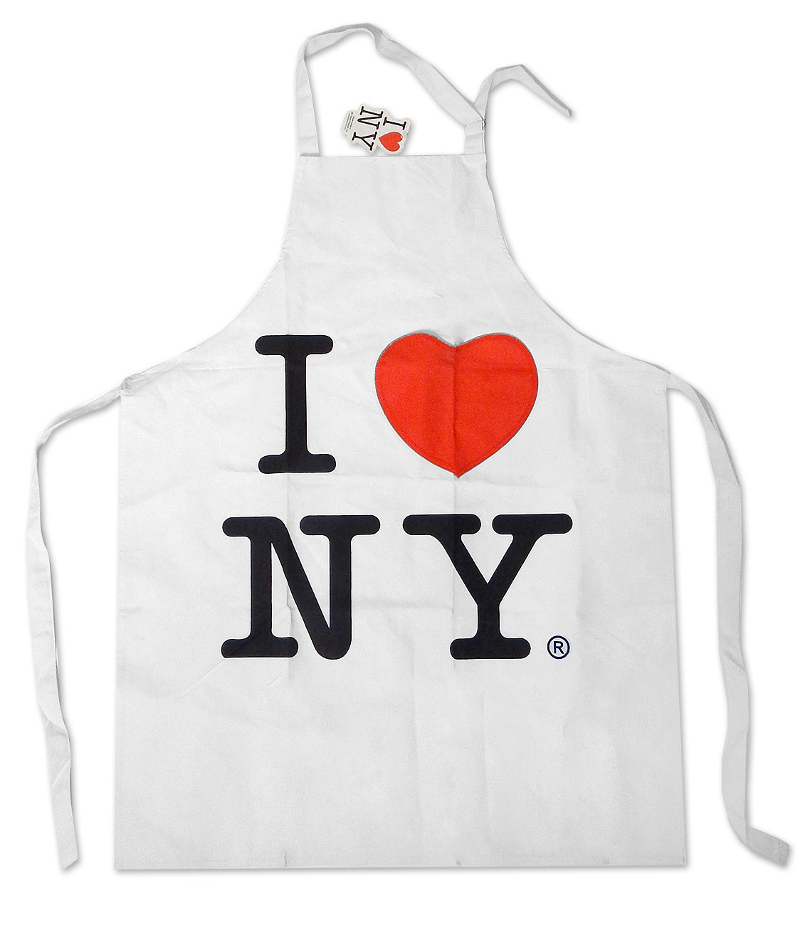 S & T World Products, Inc I Love Ny White Canvas Apron with Heart Pocket