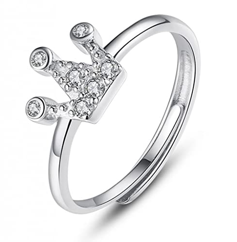 Infinite U Corona de la Reina Plata Esterlina 925 Mujer Anillos Ajustables para Boda/Matrimonio
