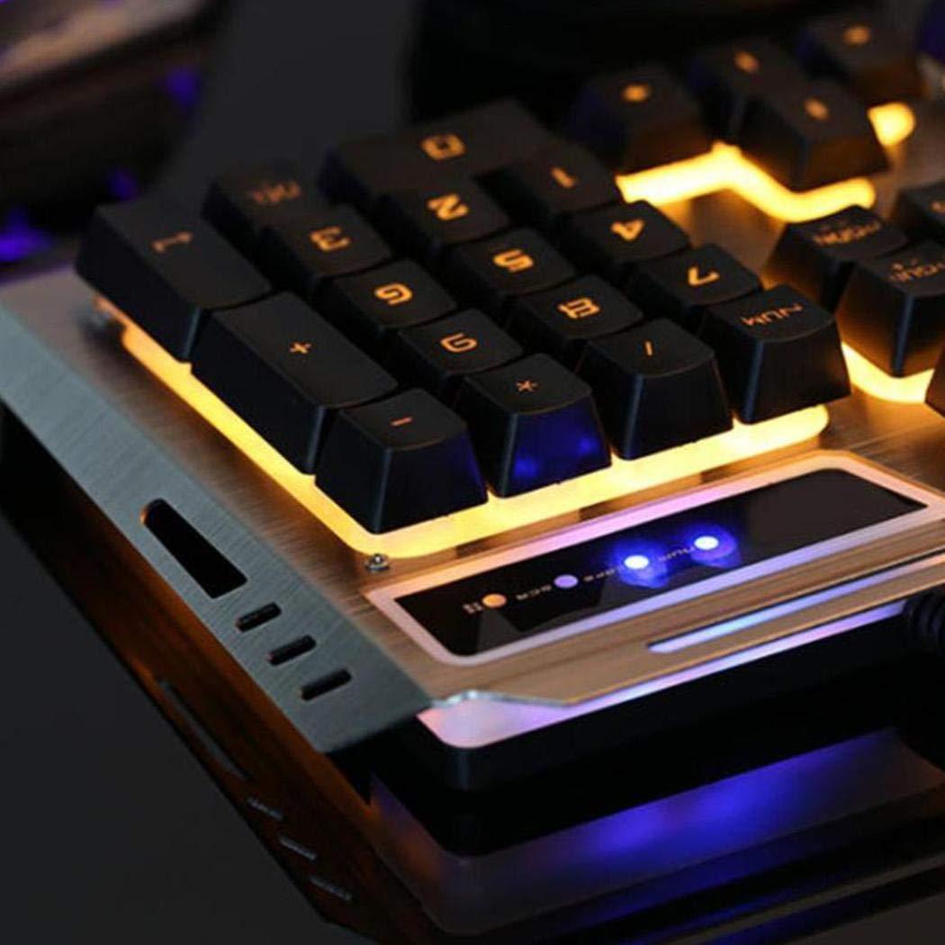 teclado y mouse a prueba de agua con retroiluminaci/ón de colores amarillos USB 1000//1600//2400//3200 DPI ajustable para juegos y ofi Adolenb Juego de teclado y mouse para juegos teclado de rat/ón Panel de metal con teclado LED retroiluminado