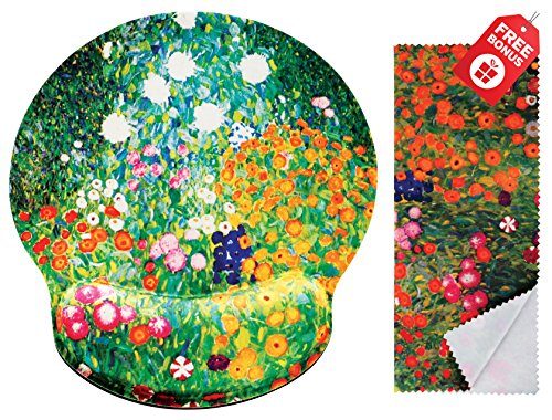 Gustav Klimt Flower Garden Ergonomic Design Mouse Pad with Wrist Rest Hand Support. Round Large Mousing Area. Matching Microfiber Cleaning Cloth for Glasses & Screens. Great for Gaming & Work