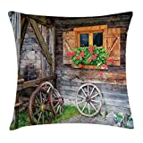 Ambesonne Shutters Decor Throw Pillow Cushion Cover, Weathered Old Window with Flowers in Pot Wheels Farmhouse Rural Scene, Decorative Square Accent Pillow Case, 18 X 18 inches, Brown Green Red