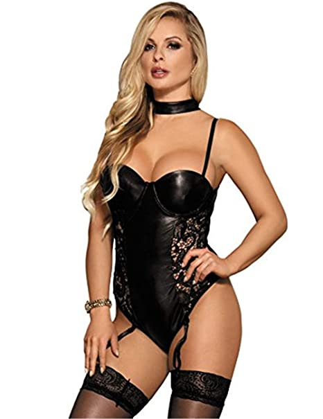 273aab4697 ohyeah Women Lace Teddies Lingerie Faux Leather Bodysuit Garter Leotard  Nightwear Black Medium US 4