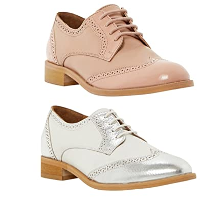 8e2582627e54 Womens Ladies Top Brand Leslee D Brogue Lace Up Work Leather Flat Formal  Fashion Occasion Brogues