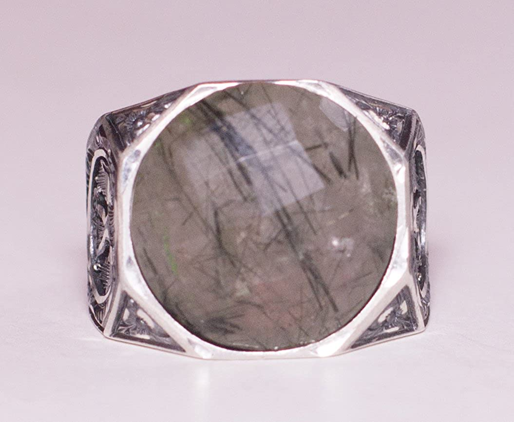 Falcon Jewelry 925 Sterling Silver Men Ring Double Headed Eagle Ring Free Express Shipping Rutilated-Quartz Natural Gemstone Steel Pen Craft