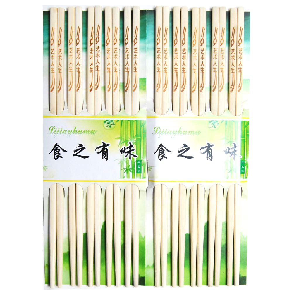 Luxxii 10 pairs 9.5 Natural Chinese Wooden Chopsticks Set Reusable Classic Style Wood Chopsticks