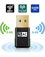 Maxesla USB Wifi Adapter 600M Mini Wifi Dongle 802.11ac Dual Band 2.4/5GHz Wireless Network Adapter for PC/Desktop/Tablet/Laptop, Compatible with Windows, Mac OS X