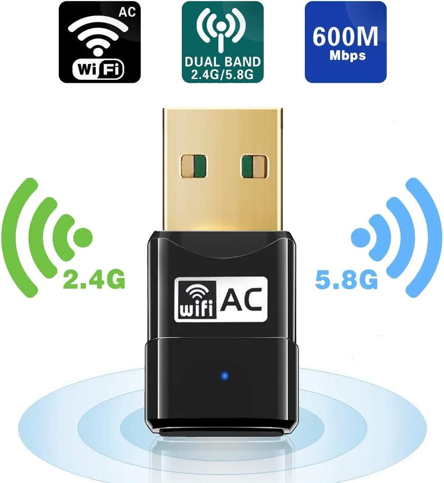 Maxesla WiFi Adaptador AC 600Mbps Mini USB WiFi Receptor Dual Band 2.4G/5GHz, WiFi Antena para PC Desktop Laptop Tablet, Soporta Mac OS X 10.6-10.14 / Ubuntu Linux/Windows XP/Vista /7/8/10