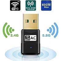 Clé Wifi - Maxesla Double Bande AC 600Mbps Mini USB WiFi Adaptateur Wifi Dongle Compatible avec Mac OS X 10.6-10.14 / Ubuntu Linux / Windows XP / Vista / 7 / 8 / 10