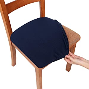 Smiry Stretch Spandex Jacquard Dining Room Chair Seat Covers, Removable Washable Anti-Dust Dinning Upholstered Chair Seat Cushion Slipcovers - Set of 4, Navy Blue