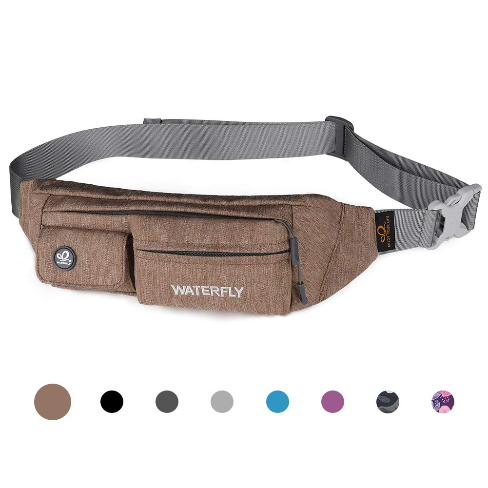 Waterfly Fanny Pack Slim Soft Polyester Water Resistant Waist Bag for Man Women Carrying iPhone Xs / 8 Plus Samsung S10 Plus/Note 8 (Light Brown) by Waterfly