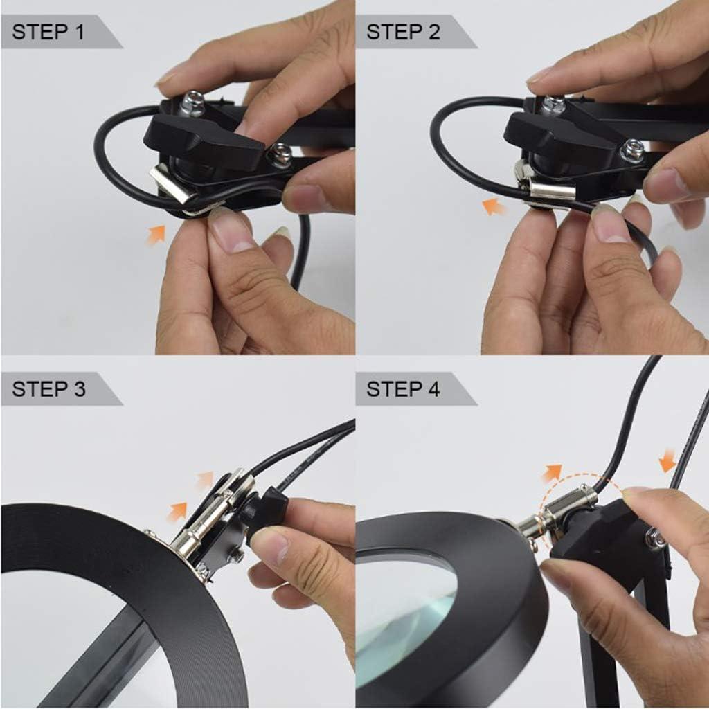 Milageto Lente Dingrandimento A LED Con Morsetto 3 Modalit/à Colore Lente In Vetro 5 Diottrie Per Scrivania