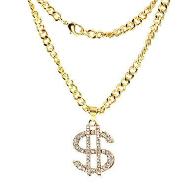 28d33ee1acef36 Amazon.com: Kimloog Dollar Sign Pendant Necklace Hip Hop Chain Unisex  Jewelry (Gold): Jewelry