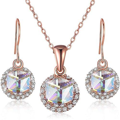 fd981daca41d Conjunto de Joyas Para Mujeres Pendientes Largos Collar de Diamantes ...