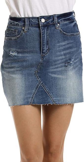 Dilgul Mujer Vaquera Minifalda Rotos Denim Corta Mini Falda ...