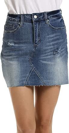 Dilgul Mujer Falda Vaquera Minifalda Rotos Denim Corta Mini Falda para