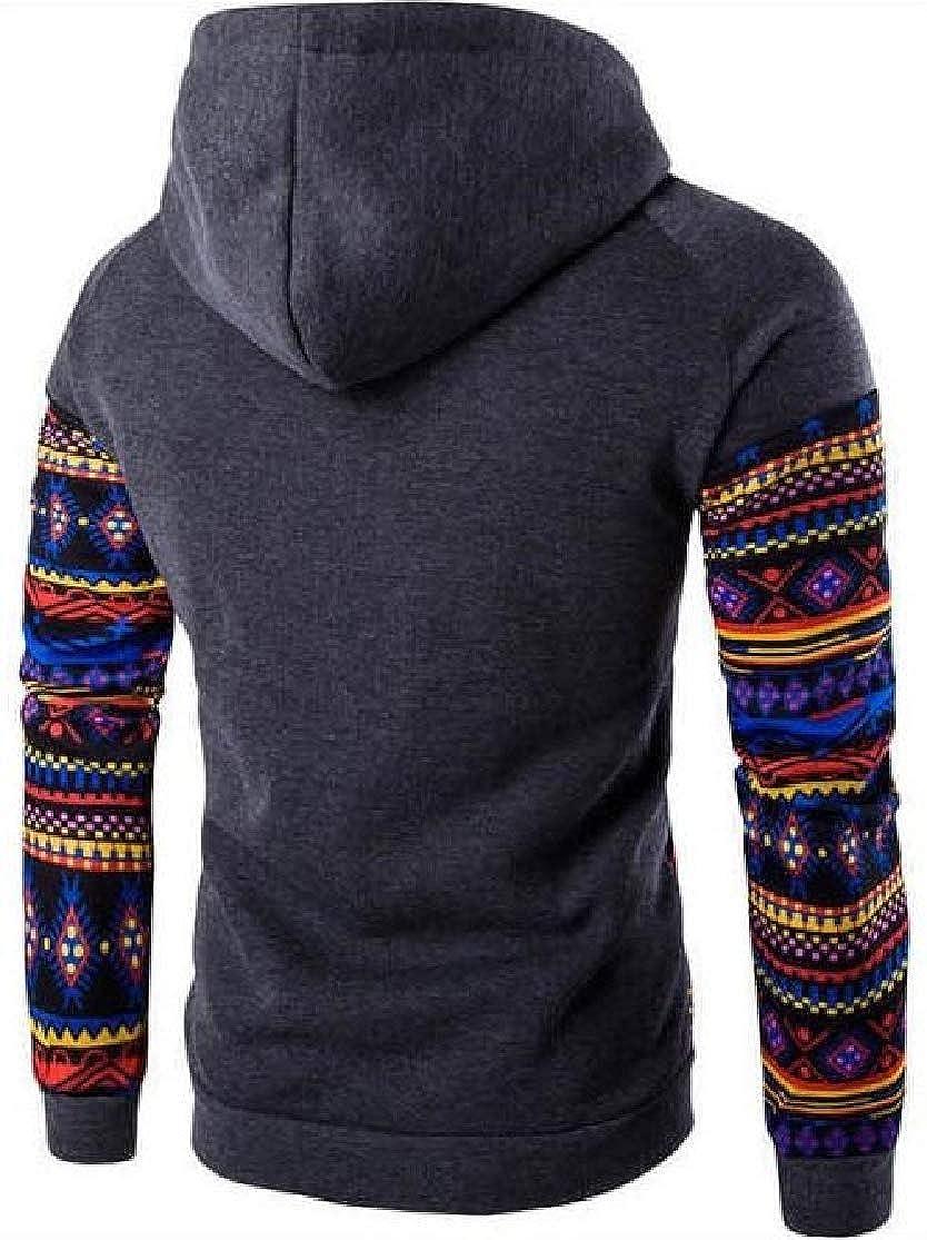 Joe Wenko Mens Casual Contrast Color Pullover Hooded Patchwork Tribal Print Sweatshirt