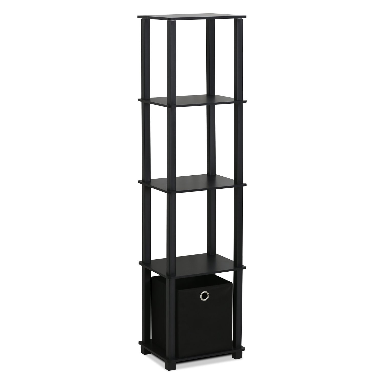 Furinno 15120BKBK Decorative Shelf with Bin, Black by Furinno