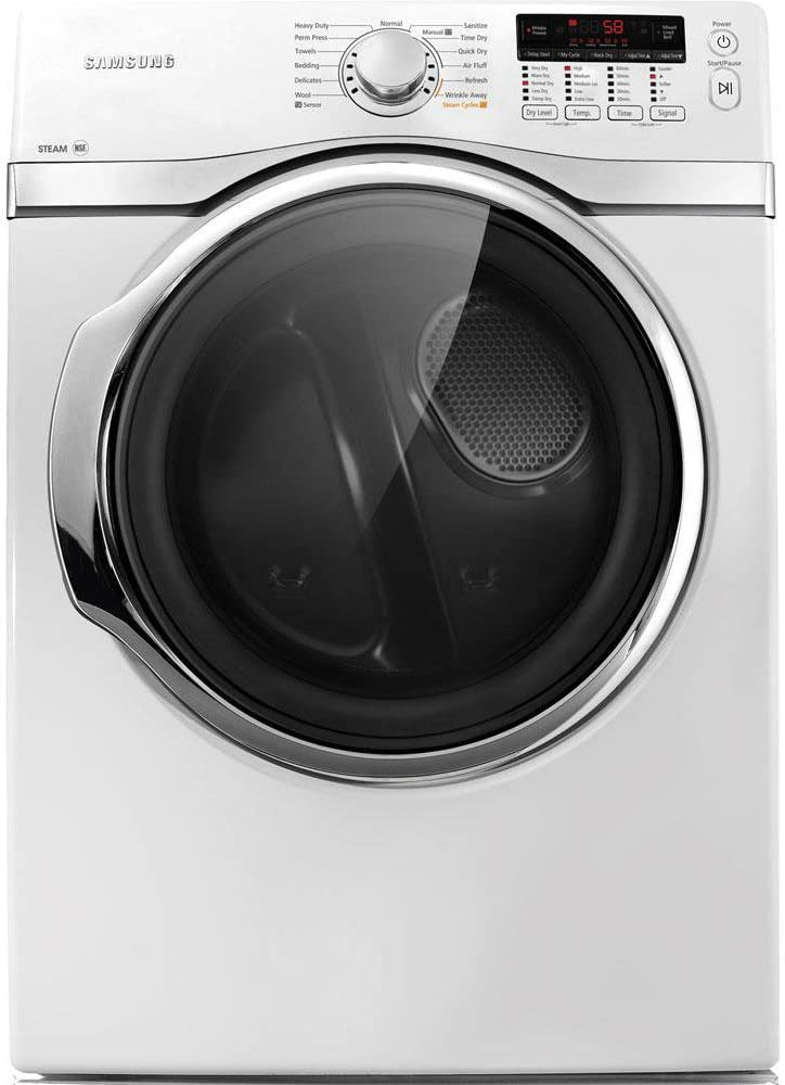 Samsung DV393ETPAWR 7.3 Cu. Ft. White Stackable With Steam Cycle Electric Dryer - Energy Star