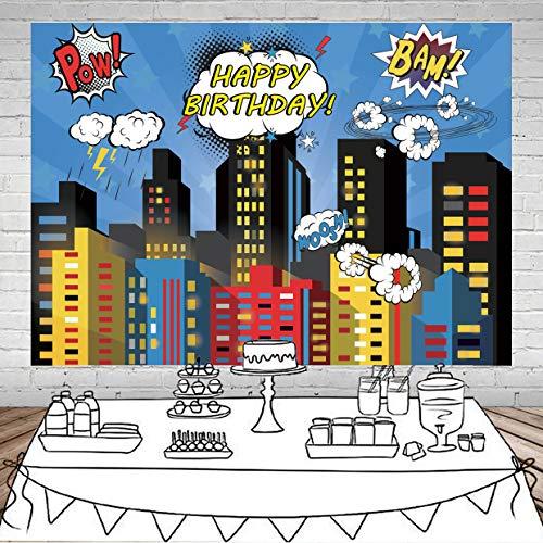 SJOLOON 7X5FT Superhero Cityscape Photography Backdrop Super Hero City Photo Background Male Kids Birthday Party Decorations Vinyl Studio Props 11475 ()