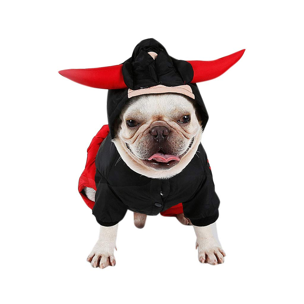 S Pet Travel Bag Winter Dog Clothes Thickening Four-Legged Clothing Cow Demon Maiden Pets Turned into a Christmas Halloween Costume (Size   S)
