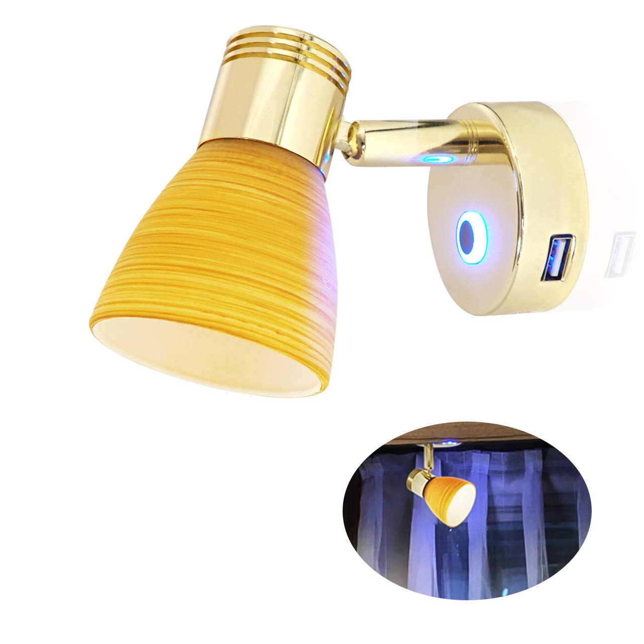 Teak Color Glass Lampshade 12V USB Reading Light - 3W Warm White, Touch Adjustable, Blue Decor Light, Beautiful Box, Stainless Steel Screws, Interior Lamp, Bed Lamp for Yacht RV Boat Caravan by Genuine Marine