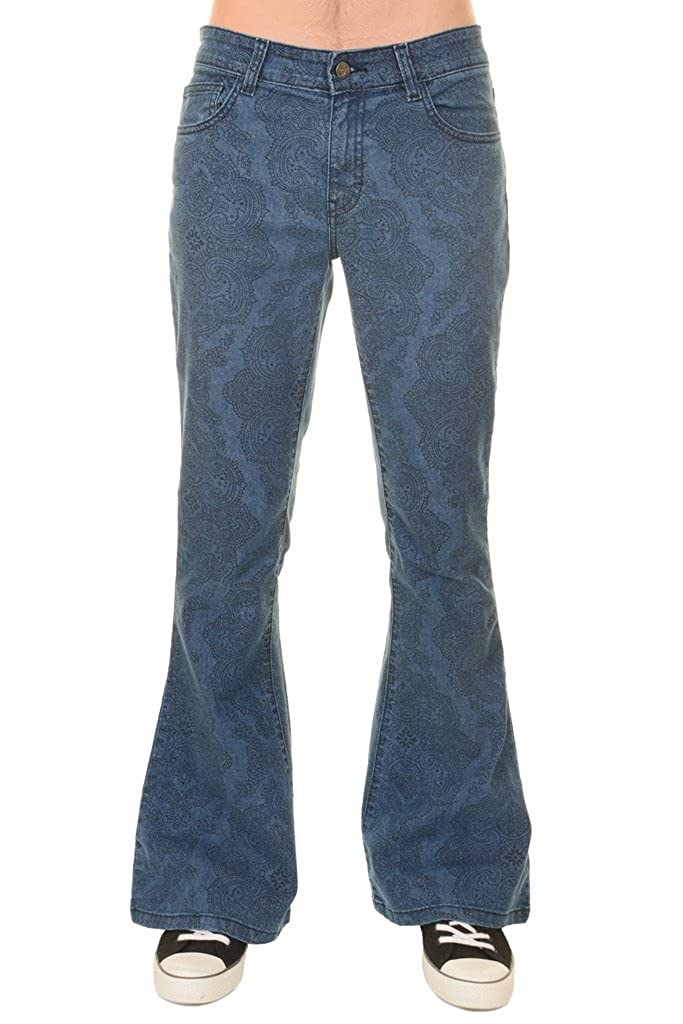 60s – 70s Mens Bell Bottom Jeans, Flares, Disco Pants Run & Fly Mens 60s 70s Vintage Hendrix Paisley Stretch Denim Retro Bell Bottom Flares $49.95 AT vintagedancer.com