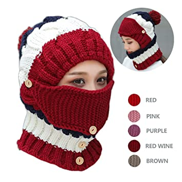 Amazon.com  NEEDOON 3 in 1 Winter Scarf Hats Mask Set for Women ... a01fa13d048c