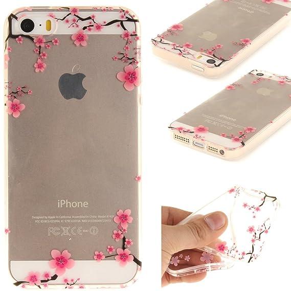 Ooboom® iPhone 5SE Hülle Handy Tasche Transparent TPU Silikon Ultra Dünn Schlank Schutzhülle Case Cover für iPhone 5SE - Pfla