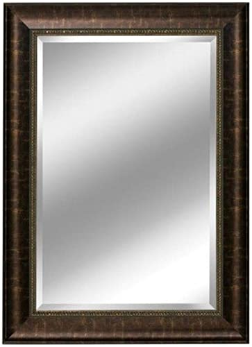 Head West Distressed Embossed Mirror, 31 by 37-Inch, Bronze