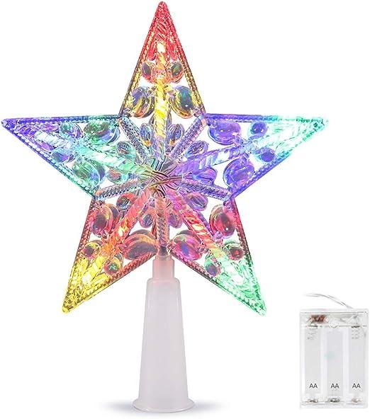 16cm LED Multicolore Flash Star No/ël Arbre D/écoration Light Top aliment/é par Batterie AsperX No/ël Arbre Topper