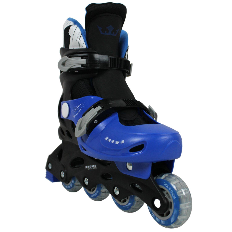 Krown Kids Adjustable Inline Skates, Black/Blue, Large