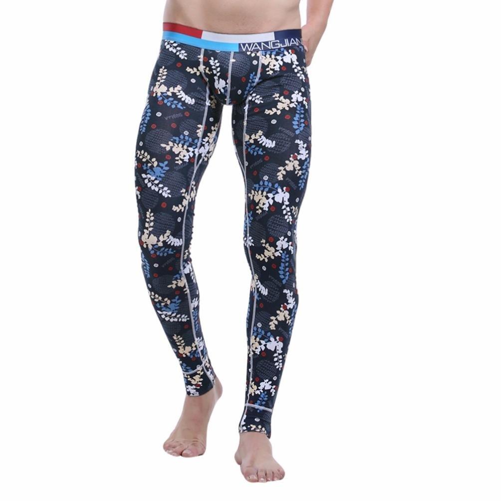 WOCACHI Men Printed Low Rise Leggings Long Johns Winter Thermal Pant LXB-547436667245