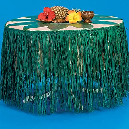 Shindigz Falda De La Tabla De Rafia Verde: Amazon.es: Hogar