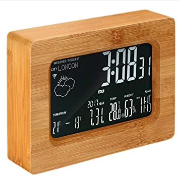 Shuangklei Estación Meteorológica Digital Inalámbrica De Madera De Wi-Fi Reloj Despertador Color De Madera: Amazon.es: Hogar
