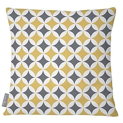 Izabela Peters Design Impermeabile Tessuto Giardino Esterno Cuscino -Marrakech COLLEZIONE - Progettato Stampato & fatti a mano nel Regno Unito - BADI - Grigio