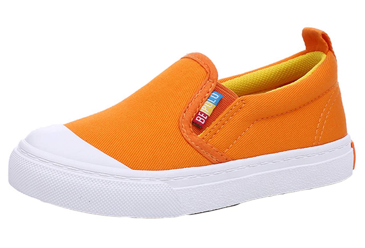 iDuoDuo Boys Girls Fashion Solid Colors Low Top Casual Sport Loafer Shoes Orange 13 M US Little Kid