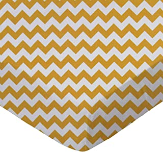 product image for SheetWorld Fitted Portable / Mini Crib Sheet - Gold Chevron Zigzag - Made In USA